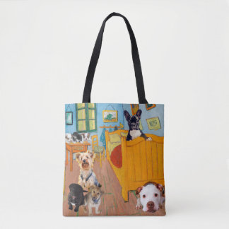 Cute Dogs in Van Gogh's Bedroom Tote Bag