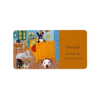 Cute Dogs in Van Gogh's Bedroom v1 Address Label