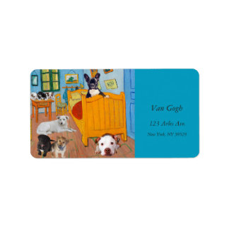 Cute Dogs in Van Gogh's Bedroom v1 Label