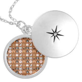 Cute Dogs on Brown Round Locket Necklace