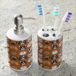 Cute Dogs on Brown Soap Dispenser And Toothbrush Holder
