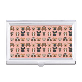 Cute Dogs on Pink Business Card Holder
