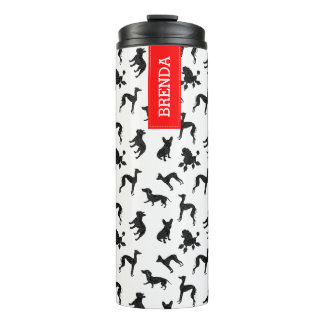 Cute Dogs Silhouettes Pattern Thermal Tumbler