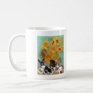 Cute Dogs with Van Gogh's Sunflowers Coffee Mug
