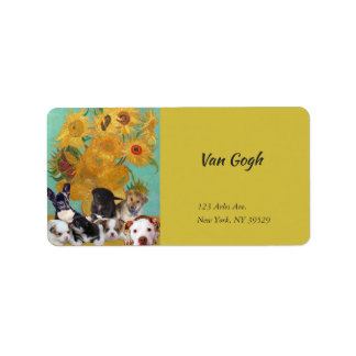 Cute Dogs with Van Gogh's Sunflowers Label