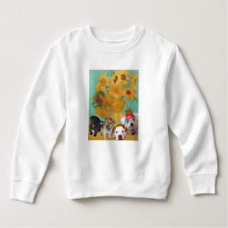 Cute Dogs with Van Gogh's Sunflowers Sweatshirt