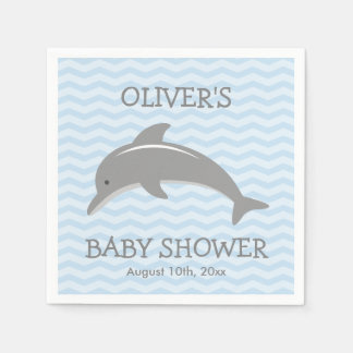 Cute dolphin and blue chevron baby shower napkins disposable serviettes