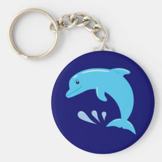 Cute Dolphin Basic Round Button Key Ring