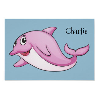 Cute Dolphin custom name poster