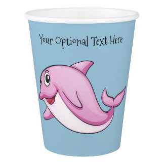 Cute Dolphin custom text paper cups