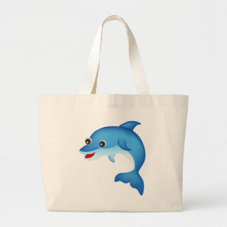 Cute dolphin large tote bag