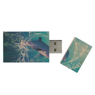 Cute dolphin wood USB 2.0 flash drive