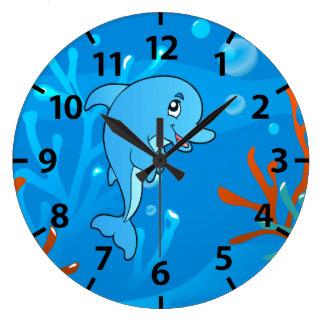 Cute Dolphin Ocean Aquatic Wall Clock