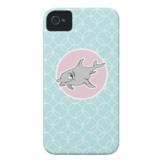 Cute Dolphin on Baby Blue Circles iPhone 4 Cover