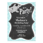 Cute Dolphin on Baby Blue Circles Invitations