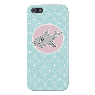 Cute Dolphin on Baby Blue Circles iPhone 5 Cover