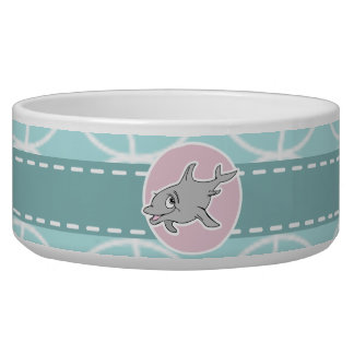 Cute Dolphin on Baby Blue Circles Pet Bowl