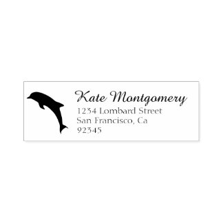 Cute Dolphin Return Address Rubber Stamp