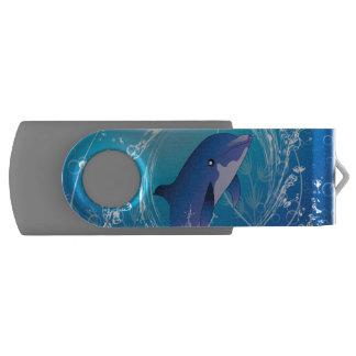Cute dolphin swivel USB 2.0 flash drive