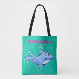 cute dolphin tote bag with customize name