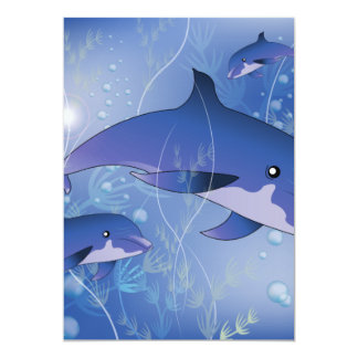 Cute dolphins playing 13 cm x 18 cm invitation card