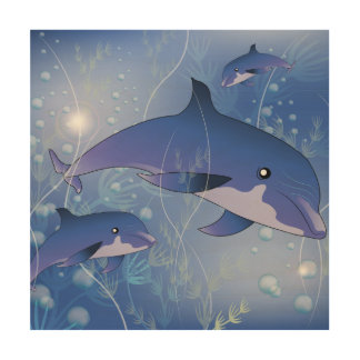 Cute dolphins playing wood canvas