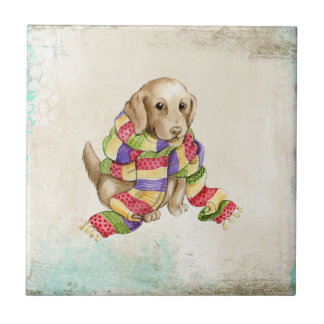 Cute domestic canine dog with a scarf. tile