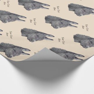 Cute donkey drawing black and white realist art wrapping paper
