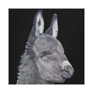 Cute donkey original life like drawing art canvas print