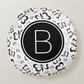 Cute Doodle Butterflies Monogram Black and White Round Cushion