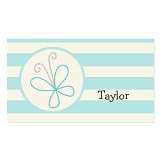 Cute Doodle Butterfly; Baby Blue Stripes Business Cards