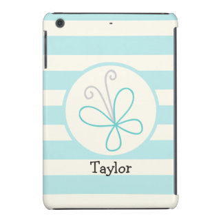 Cute Doodle Butterfly; Baby Blue Stripes iPad Mini Case