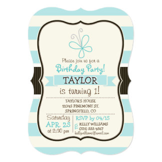 """Cute Doodle Butterfly; Baby Blue Stripes 5"""" X 7"""" Invitation Card"""