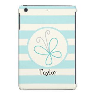 Cute Doodle Butterfly; Baby Blue Stripes iPad Mini Case