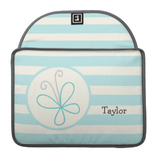 Cute Doodle Butterfly; Baby Blue Stripes Sleeve For MacBook Pro