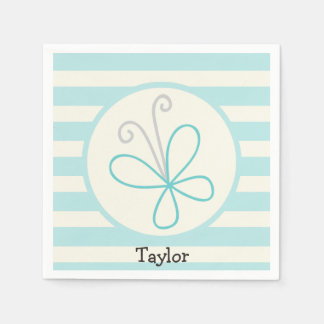 Cute Doodle Butterfly; Baby Blue Stripes Paper Serviettes