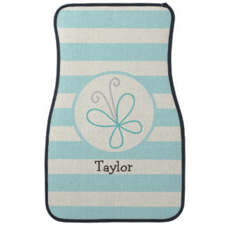 Cute Doodle Butterfly; Baby Blue Stripes Car Mat