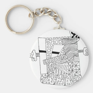 Cute Doodle Creature Basic Round Button Key Ring