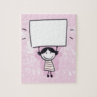 Cute doodle girl with design Board Jigsaw Puzzle