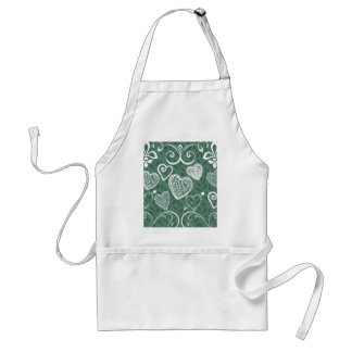 Cute Doodle Hearts and Flourish Pattern Adult Apron