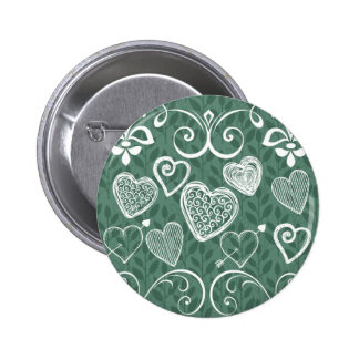 Cute Doodle Hearts and Flourish Pattern Pin