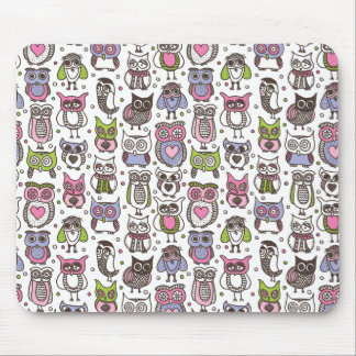 Cute doodle owl pattern mouse pad