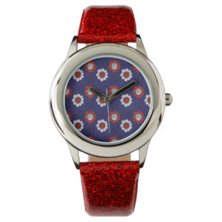 Cute Doodle Red and Blue Decorative Flowers Swirls Wrist Watches