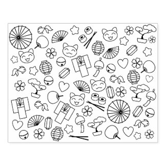Cute Doodles of Japan Kawaii Culture Coloring Page Rubber Stamp