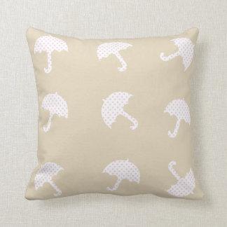 Cute Dotted Umbrellas Beige Pillow