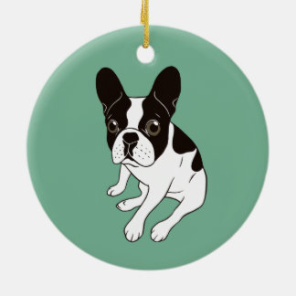 Cute double hooded pied Frenchie is chilling Ceramic Ornament