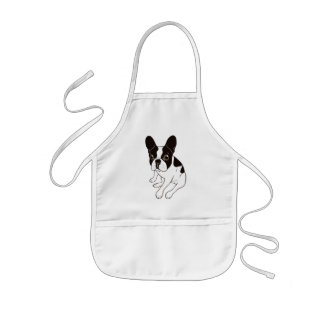 Cute double hooded pied Frenchie is chilling Kids Apron