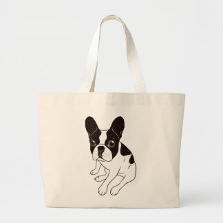 Cute double hooded pied Frenchie is chilling Large Tote Bag