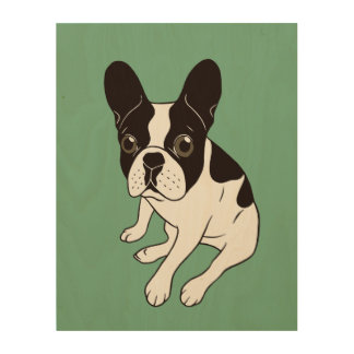 Cute double hooded pied Frenchie is chilling Wood Wall Decor