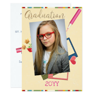 Cute Double Photo Middle School Graduation Card